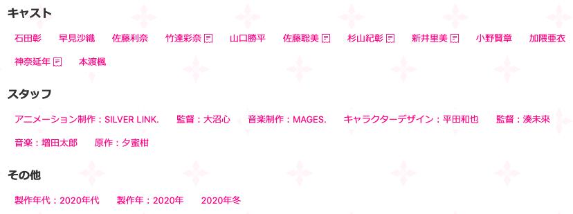 dアニメストアの特色:キャスト・スタッフ一覧から他の関連作品を調べられる